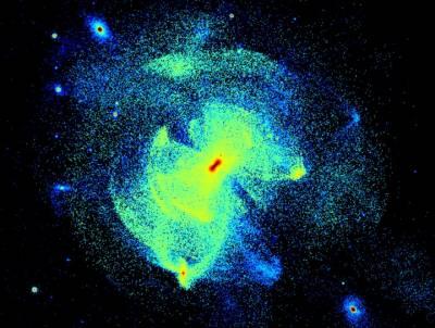 Моделирование показывает гало Млечного Пути в настоящее время.