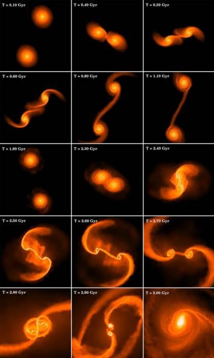 Компьютероное моделирование иллюстрирует сложность динамической эволюции в типичном столкновении двух равных по массе спиральных галактик. Иллюстрация Ohio State University