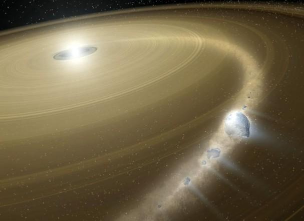 Художественное изображение белого карлика G29-38 и его осколочного диска. Фото: NASA/JPL-Caltech.