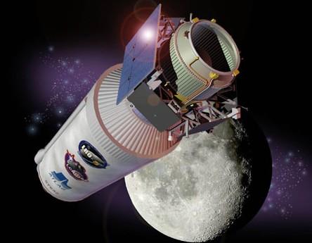 Зонд LCROSS и верхняя ступень верхняя ступень ракеты-носителя Atlas V. Иллюстрация NASA