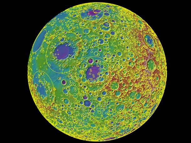 Новая карта поверхности Луны. Иллюстрация NASA/Goddard/MIT/Brown