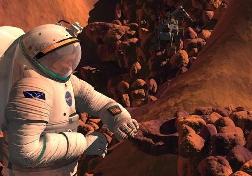 Астронавт на Марсе. Иллюстрация NASA