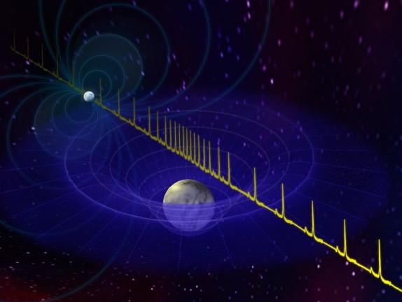 Импульсы от нейтронной звезды замедляются, поскольку они проходят вблизи находящегося на линии наблюдения белого карлик. Этот эффект позволил астрономам измерить массу нейтронной звезды J1614-2230.