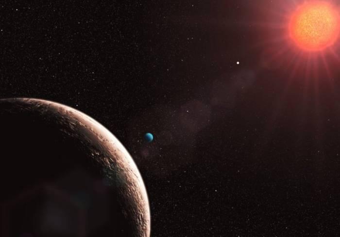 Художественное изображение планеты земного типа в системе Gliese 581. Иллюстрация ESO