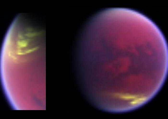 Виртуальные цвета изображения показывают исчезающий облачный покров над северным полюсом Титана и облака, которые появились в южных средних широтах.