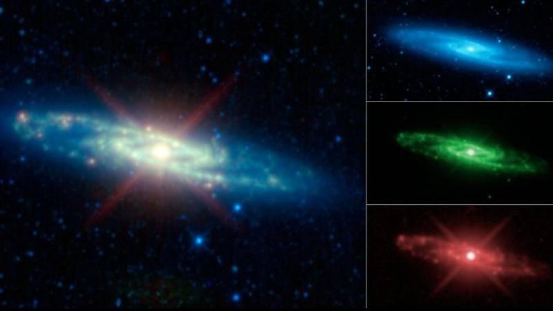 Галактика Скульптор (NGC 253) в разных цветах инфракрасного диапазона. Фото NASA/JPL-Caltech/UCLA
