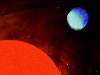 Звезда HD189733 и планета HD189733b. Рисунок ETH Zurich.